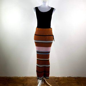 nine west women ribbed long skirt sz large /xlg bn